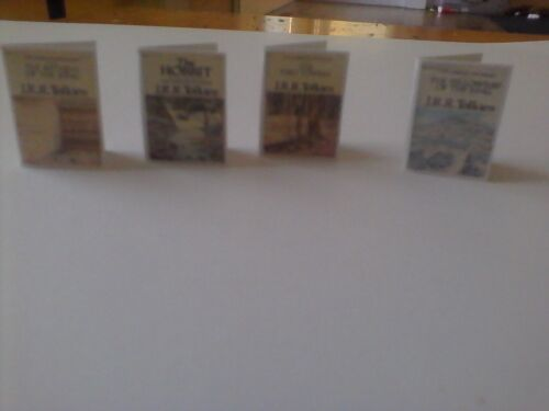 Lord of the Rings books J.R.R. Tolkien 4 dollhouse miniature books w/ map of ME