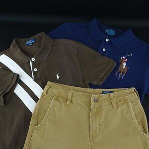 Boys-Polo-Ralph-Lauren-Khaki-Chino-Pants-2-Shirts-Big-Pony-Size-Medium-10-12