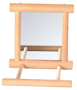 Mirror-with-Wooden-Frame-and-2-Landing-Perches-Bird-Cage-Budgie-Canary-Toy