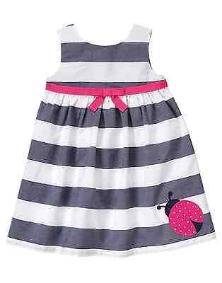 NWT Girls GYMBOREE Striped Ladybug Poplin Cape Cod Cutie A-line Float Dress 3T