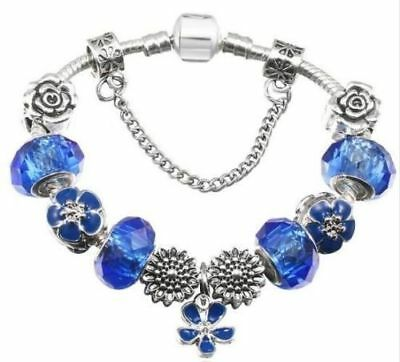 Women Jewellery Silver Charms Bracelet Blue Charm Mothers Day Birthday Gift UK