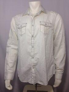 White Long Sleeve Button Down Shirt Men L Large Refuel New York | eBay