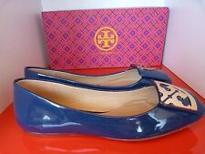 NEW TORY BURCH SQUARE FLAT BLUE PATENT LEATHER FLAT SHOES .. UK 3   US 5