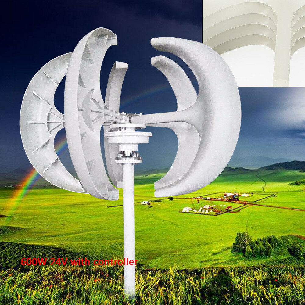 600W 24V Wind Turbine Generator Lantern Vertical Axis Windkraftanlage Controller