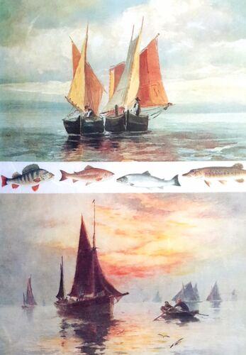 Rice Paper for Decoupage  Scrapbooking Sheet Craft Retro Vintage Ships ART G44