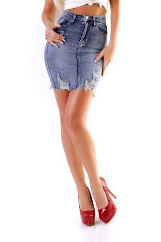 10948 Knackiger Damen Jeans Rock Jeansskirt Jeansrock Denim Minirock Destroyed