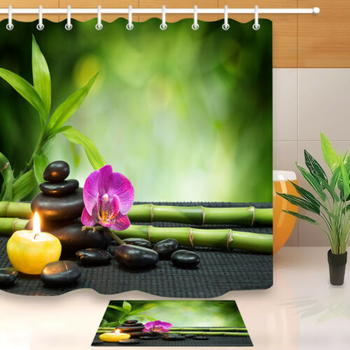 Purple Orchid Green Bamboo Spa Shower Curtain Set Bathroom Mat Polyester Fabric