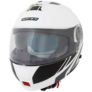 Spada-Cyclone-BLAST-WHITE-Black-Flip-Front-DVS-Motorcycle-Motorbike-Helmet-New