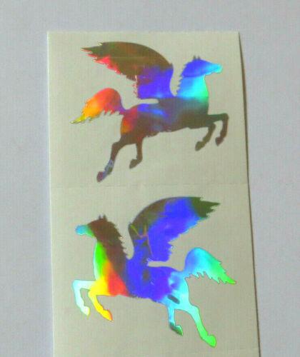 Half Strip of Vintage Silver Pegasus Stickers Mrs Grossman HOLOGRAPHIC PEGASUS