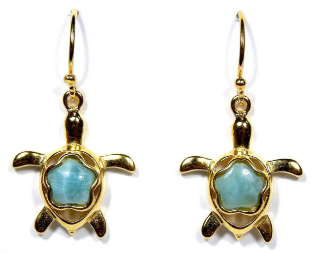 AAA Natural Larimar 18kt yellow gold plated over sterling silver Turtle Earrings