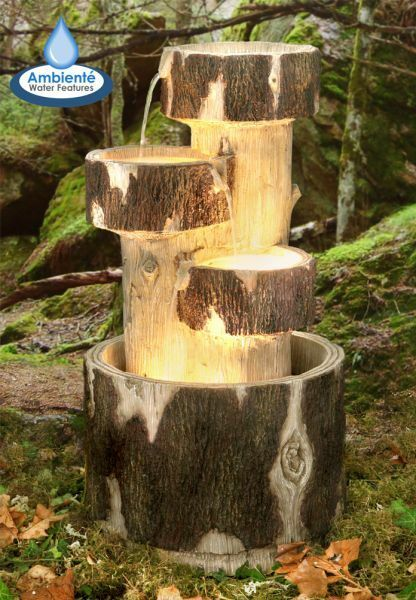 Garden Water Fountain Pond Feature 3 Logs Cascade Halogen Lights Self Contained