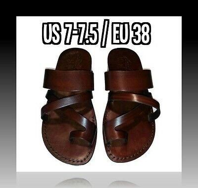 New Biblical Sandals Brown Strong Leather Jesus Shoes Women Flip Flop Size 5-10