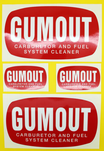 Classic Car Rally//Race GUMOUT sticker set 2 large 2 small GLOSS LAMINATED