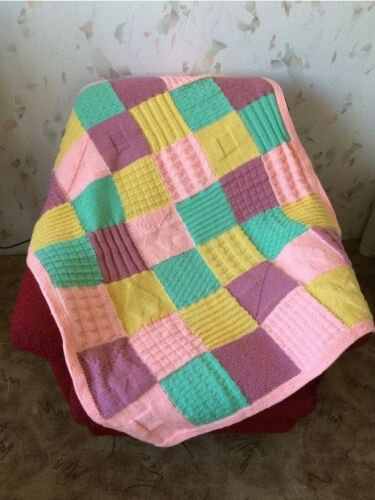 Hand Knitted Squares AfghanColorful Knitting BlanketBaby crib blanket