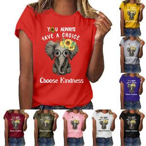 Women-Plus-Size-Letter-Print-Funny-Sunflower-Short-Sleeved-T-shirt-Blouse-Tops