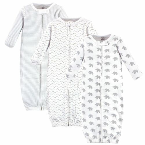 Touched by Nature Organic Cotton Zipper Gowns 3pk Marching Elephant