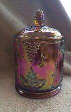 Harvest Gold Carnival Glass Grape & Leaf Biscuit / Cookie Jar w/Lid