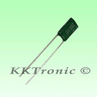500PCS 630V 0.001uF 1nF 1000pF 2J102J ±5/% Mylar Film Capacitors Radial