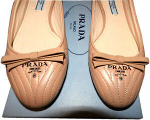 0602f02ae3d Image is loading Prada-Beige-Leather-Quilted-Stitched-Flats-Gold-Logo-