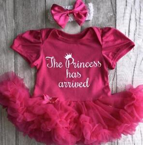89f24ff96 Image is loading BABY-GIRL-PRINCESS-Has-Arrived-PINK-Tutu-romper-