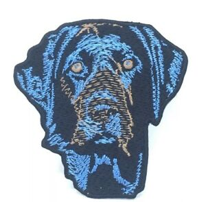 Blue Labrador dog animal badge Embroidered Iron Sew on Patch J644