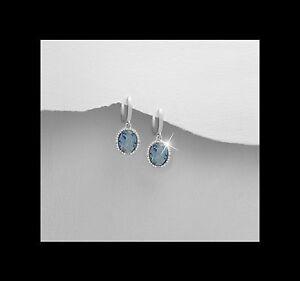 Genuine-Sterling-Silver-Wedding-Formal-Blue-Cubic-Zirconia-Drop-Earrings-Box
