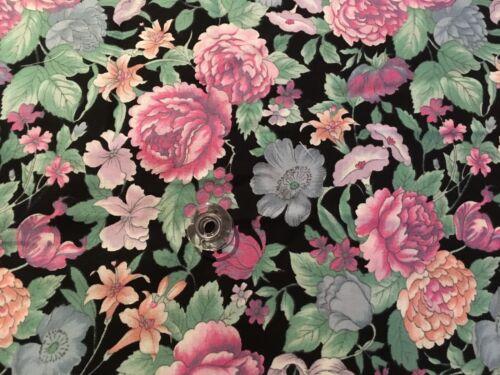 Hoffman Les Jardins Fabric BTY Pink Blue Peach Lavender Floral on Black RARE