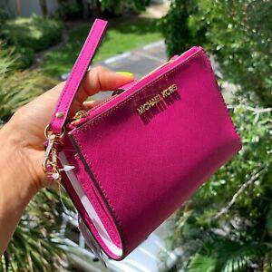 Michael-Kors-Womens-Medium-Fuschia-Gold-Leather-Double-Zip-id-Credit-Card-Wallet