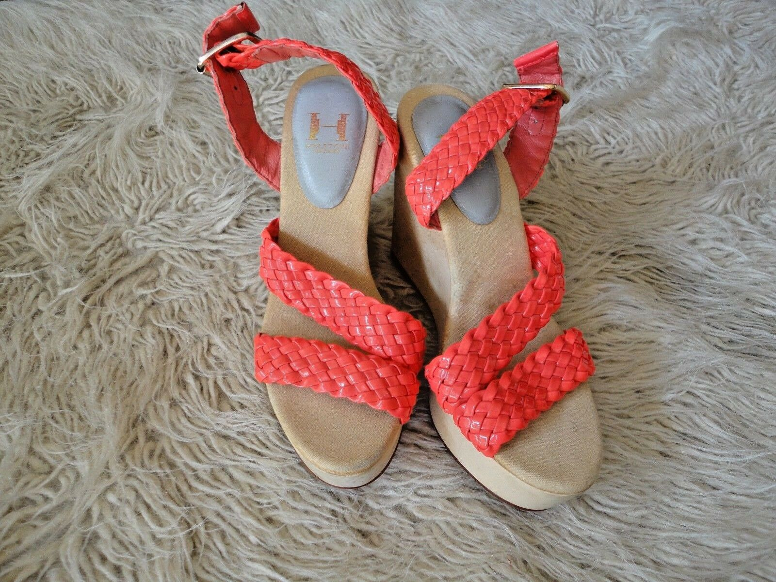 HALSTON HERITAGE Neon Pink Patent Leather Braid orange Wooden Wedge Wedge Wedge Heels Sz 6 24c974