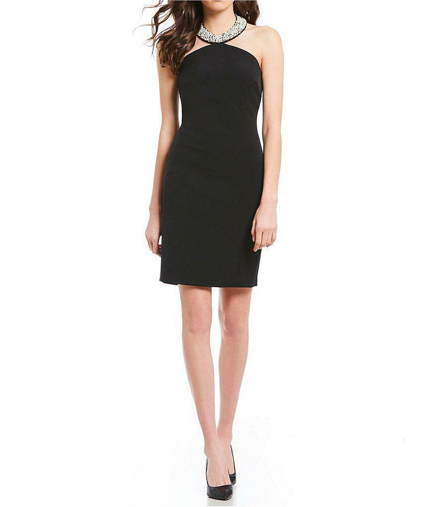 Karl Lagerfeld Nuevo Elegantes @ Su Mejor schwarz Pearl Cuello Vestido Halter