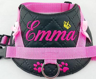 Hundegeschirr S M L XL XXL Brustgeschirr mit Namen bestickt Kunstleder silber rosa Brustgeschirr Geschirr