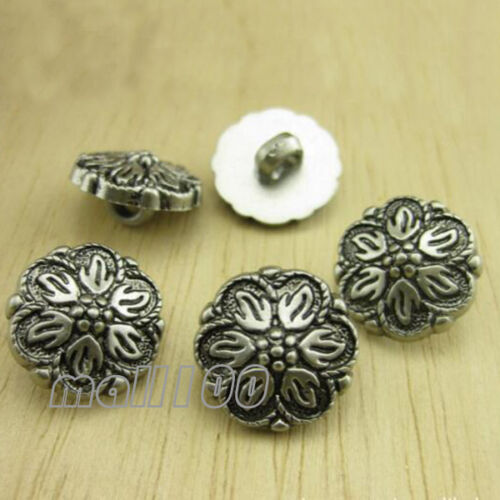 12PCS Fashion Silver Flower Pattern Shank Buttons For Sewing Shirt Coat 13mm