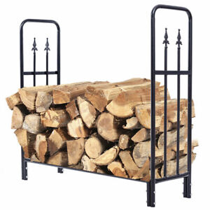 Black-4-Feet-Outdoor-Heavy-Duty-Steel-Firewood-Log-Rack-Wood-Storage-Holder