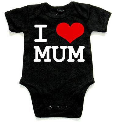I LOVE MUM Black Baby Body