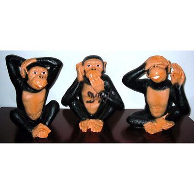3 Mini Affe 5 x 4 cm nichts hören sehen sagen Afrika Tier Figur Deko GG 4480