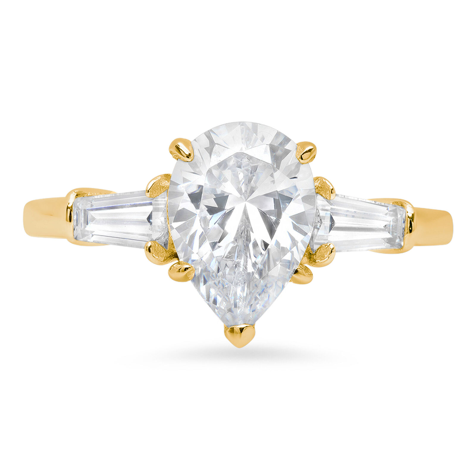 2.5 Pear Baguette Cut 3-Stone Statement Engagement Promise Ring 14k Yellow gold