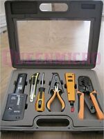 10-piece Pc Pro Network Lan Cable Tester Punch Down Crimp Tool Kit W/ Case
