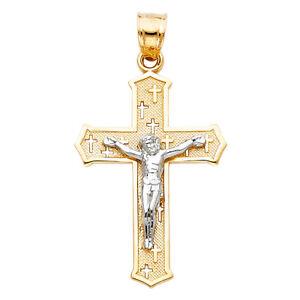 14k-Yellow-White-Gold-Cross-Jesus-Crucifix-Pendant-Charm-Free-Valentino-Chain