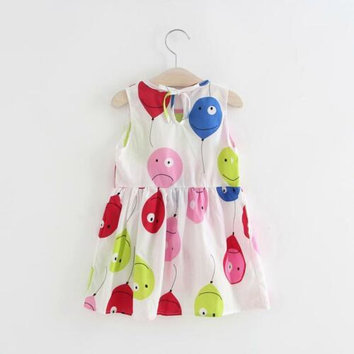 Toddler Kids Baby Girls Summer Princess Print Party Sleeveless Dresses Clothes