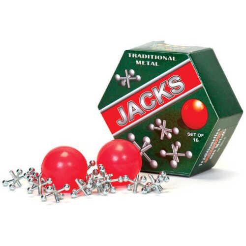 NEW - Metal Jacks Set - Vintage Traditional Game Set of 16 Metal Jacks And Ball