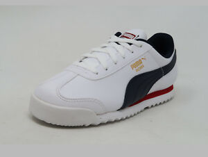 0e57dce290a9 PUMA Roma Basic White Red Navy Lace Up Fashion Kid Boy Sneakers ...