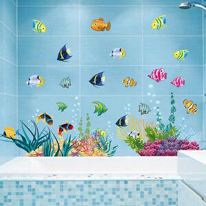 Wandtattoo Wandsticker Fische Wandbild Badezimmer Aquarium Meer ...