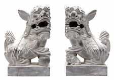 Pair of Carved Stone Foo Dogs Shishi Dog Temple Guardian Lions Statue Figure