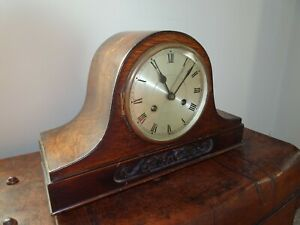 Antique Napoleon's Hat Mantel Clock with Carved Detail to Front (Pendulum Chime)