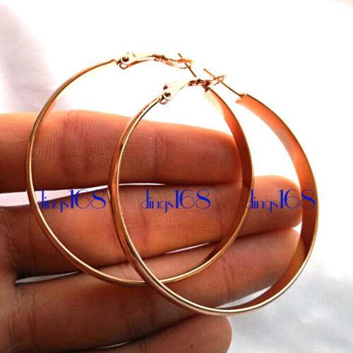 18K Gold Filled hypoallergique 2 in Large 3 mm Large Plat Boucles d/'oreilles Créoles H191G environ 5.08 cm