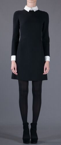 CELEBRITY 60/'s STYLE S,M,L BLACK  SHIRT DRESS CONTRAST WHITE CUFFS AND COLLAR