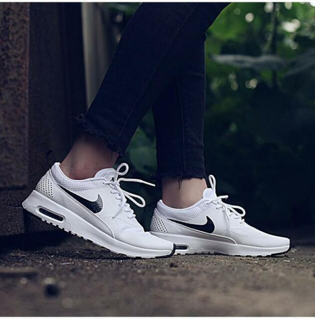 187f3e6d Nike Air Max Thea White Black 599409-103 Women's Running Shoes Size ...