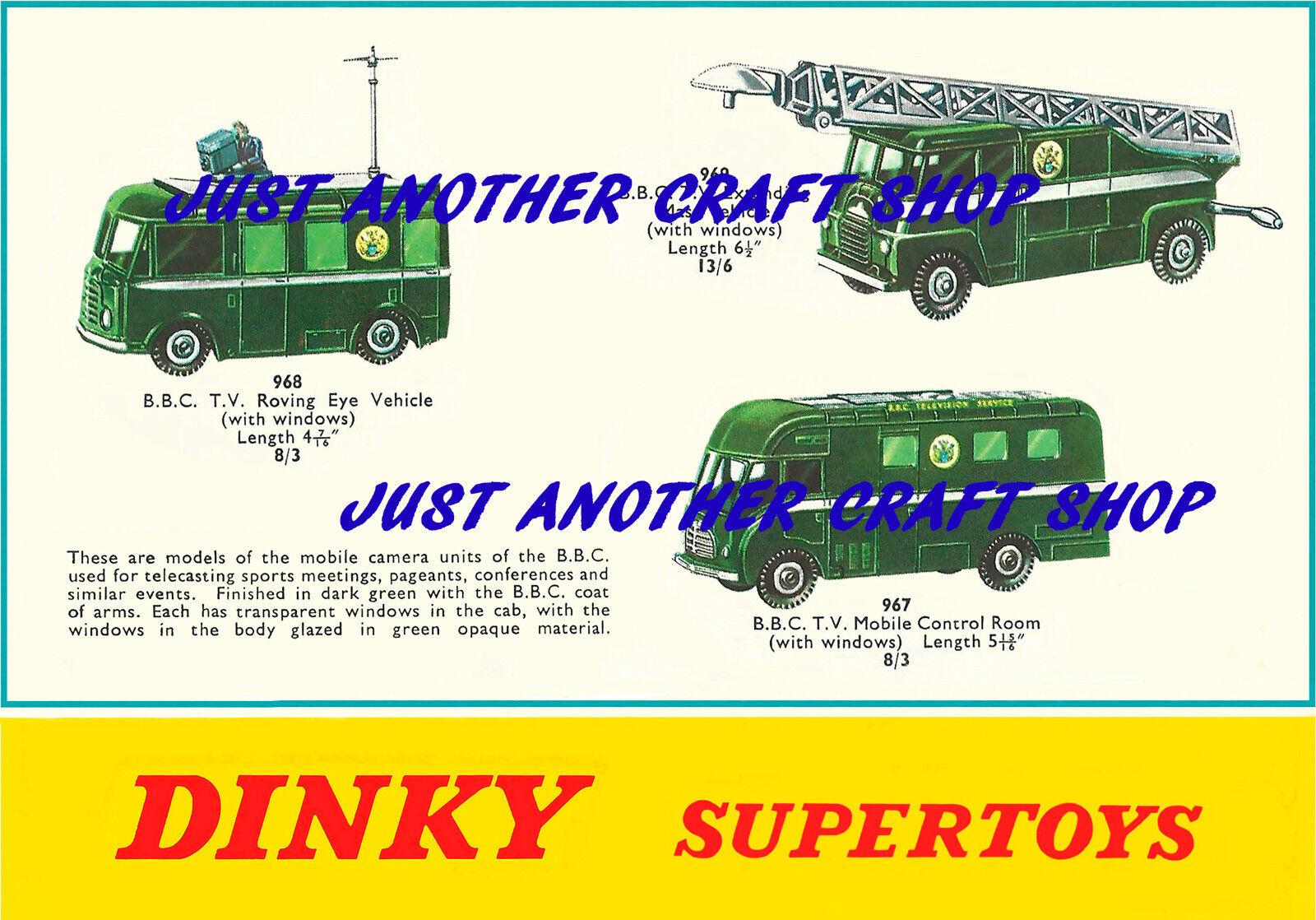 DINKY TOYS 967 968 969 BBC TV TV TV veicoli a4 dimensioni Poster illustrativo Segno Annuncio 6afb53