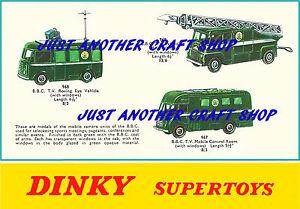 Dinky-Toys-967-968-969-vehiculos-BBC-TV-A4-tamano-poster-prospecto-cartel-anuncio