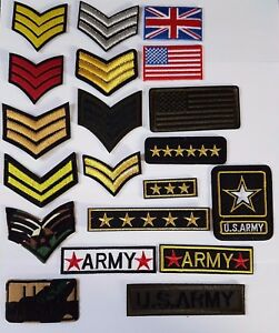 Military-Ranks-style-Embroidered-Iron-On-Sew-On-Patches-Badges-Transfers